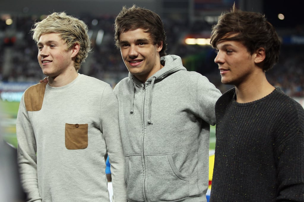 Niall Horan, Liam Payne, and Louis Tomlinson at ANZAC Test Match in 2012