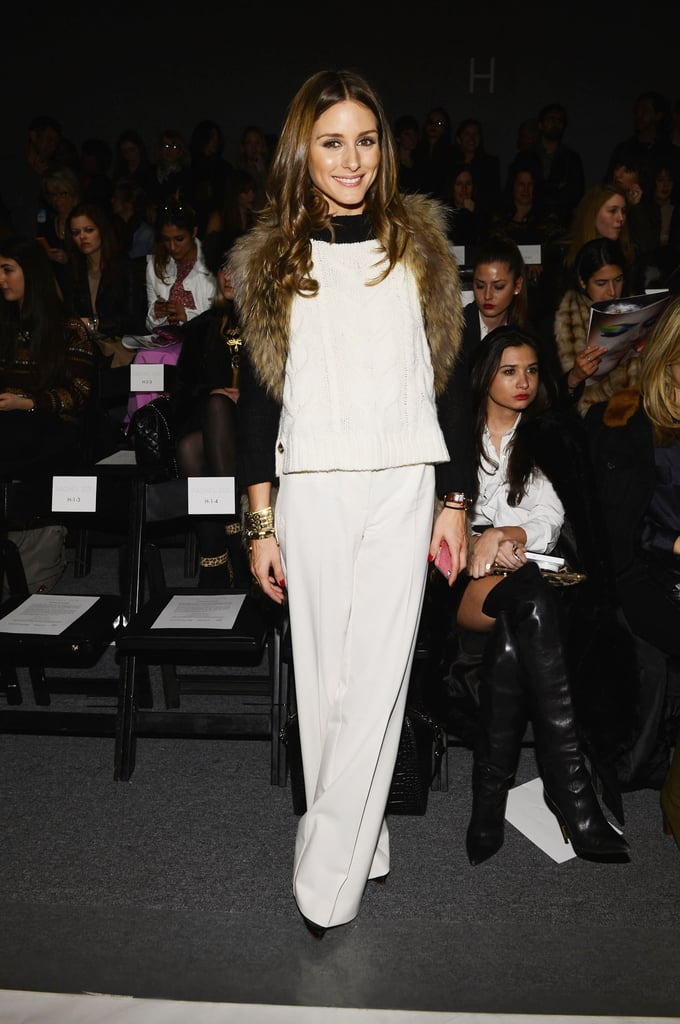 We love how Olivia's furry vest lent a touch of texture to her colorblock top and slick white trousers at the Rachel Zoe show in NYC.