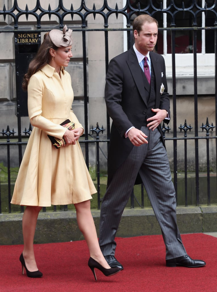 The Duchess of Cambridge wore a custom pale yellow Emilia Wickstead coat to see Prince William be inducted into the Order of the Thistle in July 2012.