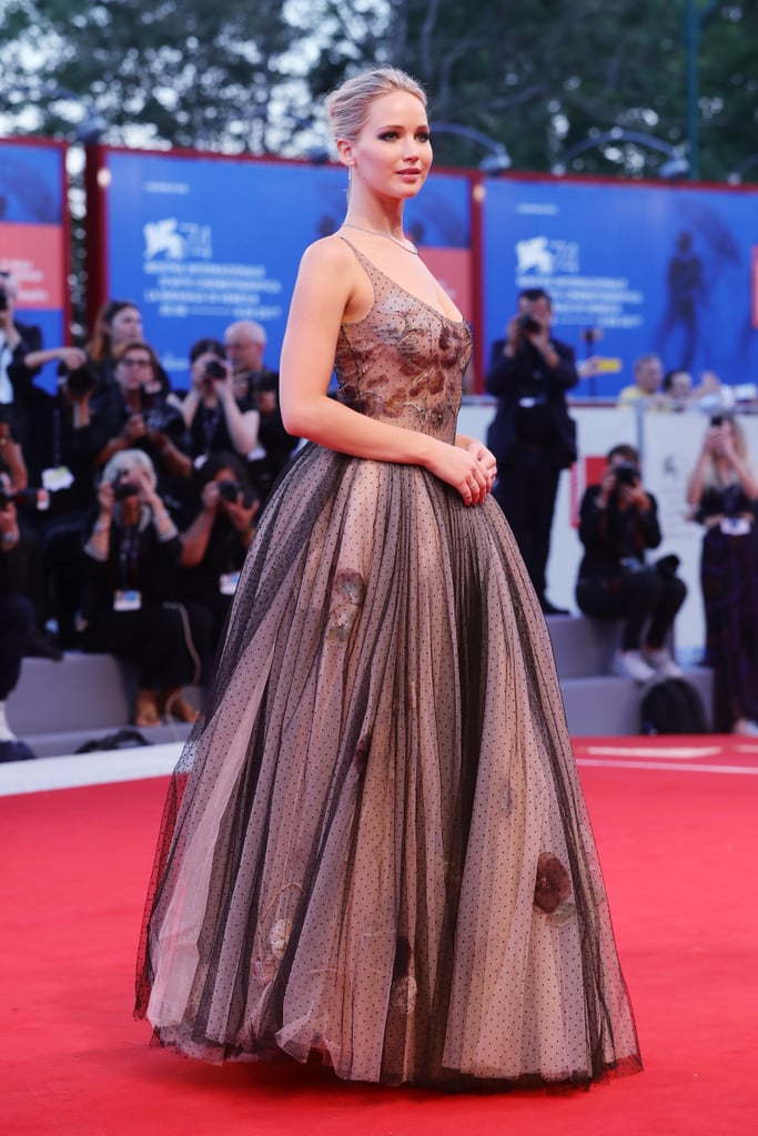 JLaw wore a Dior Couture Spring 2017 gown with Tiffany & Co. jewels at the world premiere of Mother! during the Venice Film Festival in September 2017.