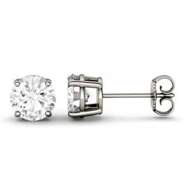 Round Moissanite Four Prong Solitaire Stud Earrings in 14K White Gold