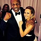 Hayden Panettiere flexed alongside Mike Tyson at the Golden Globes. Source: Twitter user MikeTyson