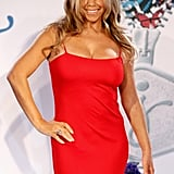 Mariah Carey in a red dress after losing weight.