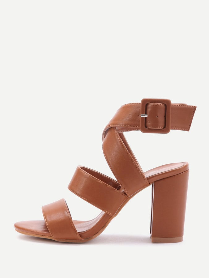 bcdbba66ce Shein PU Criss Cross Block Heels | Cute Shoes From Shein | POPSUGAR ...