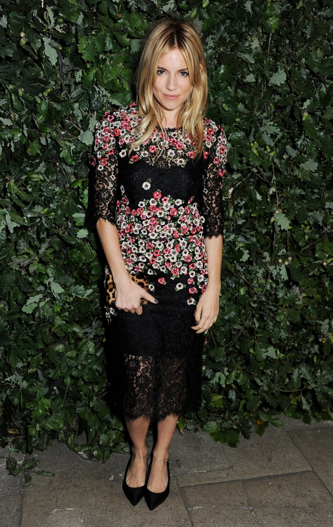Sienna blossomed in a floral lace-overlay Dolce & Gabbana sheath celebrating The Global Fund in September 2013.
