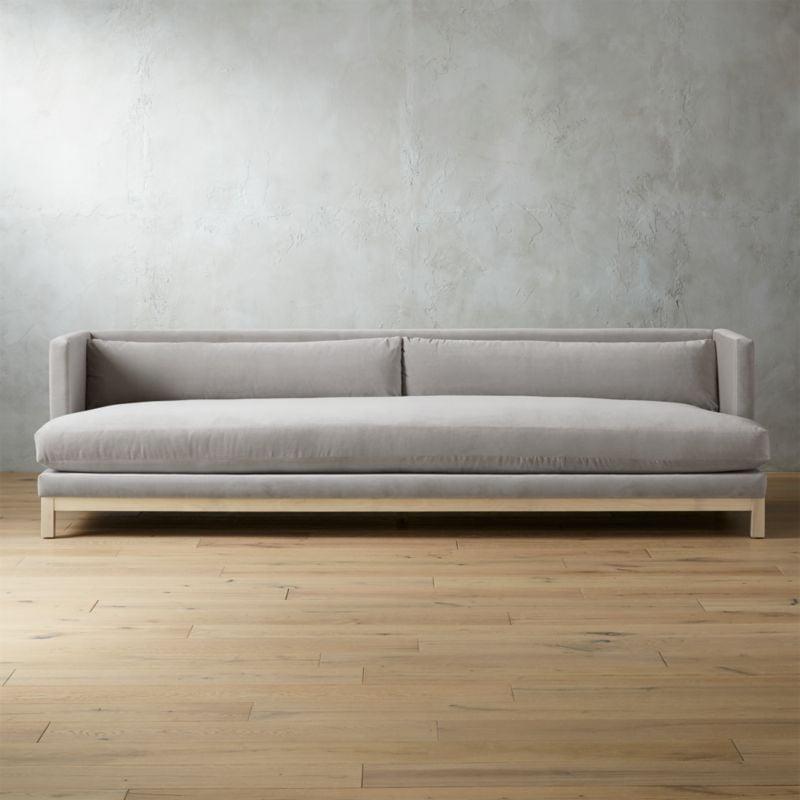 Get The Look Brava Sharkskin Light Grey Velvet Sofa With White Wash Base
