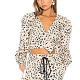 Camila Coelho Fifer Top in Tan Leopard