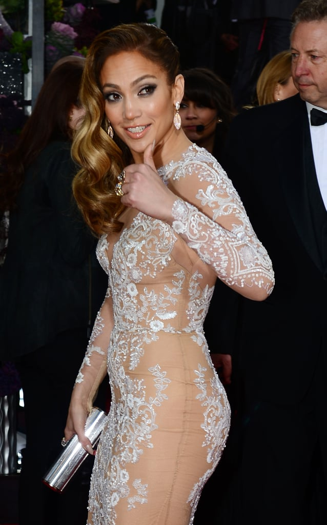 Jennifer Lopez Shows Serious Skin in a Lace Look at the Golden Globes