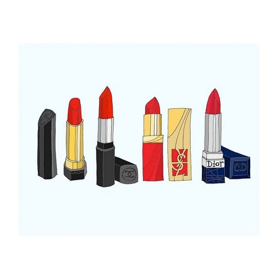 Swedish illustrator Emma Kristina draws all sorts of beauty products, and these classic red lipsticks are among her best.
