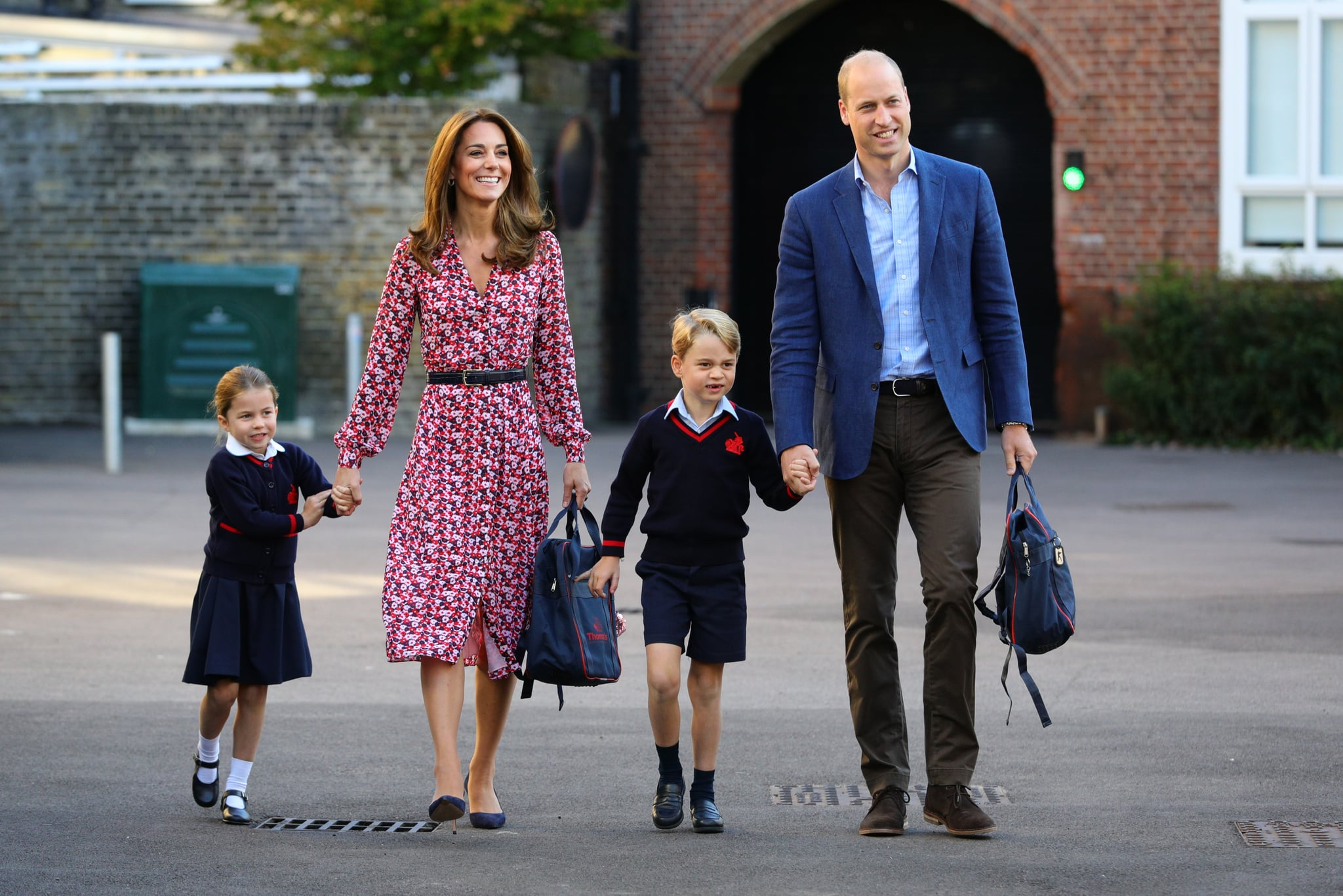LONDON, UNITED KINGDOM - SEPTEMBER 5: Princess Charlotte arrives for her first day of school, with her brother Prince George and her parents the Duke and Duchess of Cambridge, at Thomas's Battersea in London on September 5, 2019 in London, England. (Photo by Aaron Chown - WPA Pool/Getty Images)