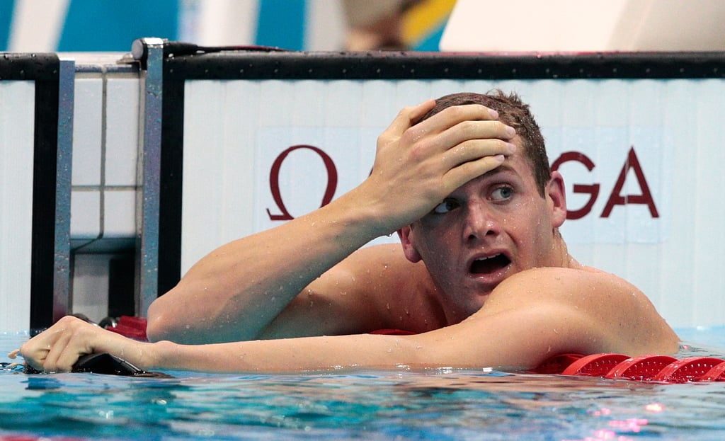 Tyler Clary looked stunned after soaking in the news that he was the gold-medal-winner in 200m backstroke.