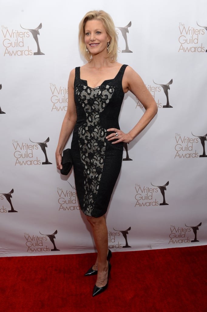 Anna Gunn went for a black cocktail dress.