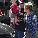 Carey Hart carried daughter Willow after a lunch date in LA.