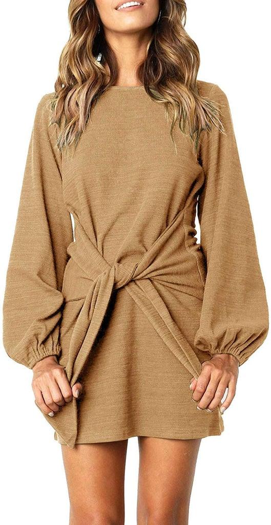 R.Vivimos Cotton Long-Sleeve Tie-Waist Sweater Dress