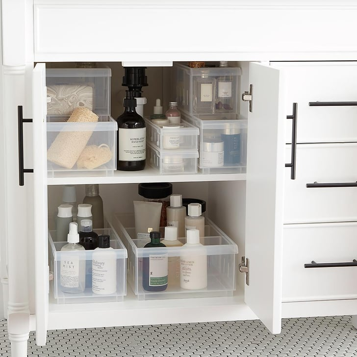 Clear Stackable Plastic Storage Bins Best Cheap Bathroom
