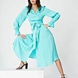 Kitri Claire Mint Daisy Jacquard Wrap Dress
