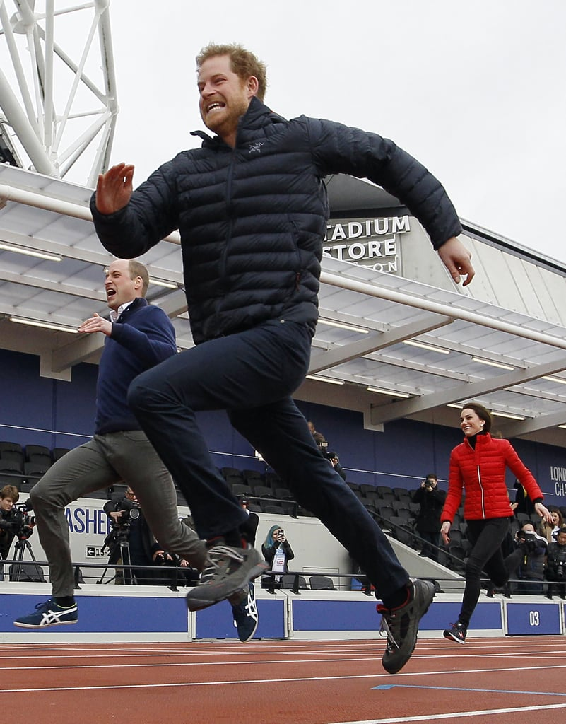 Prince Harry raced his brother William.