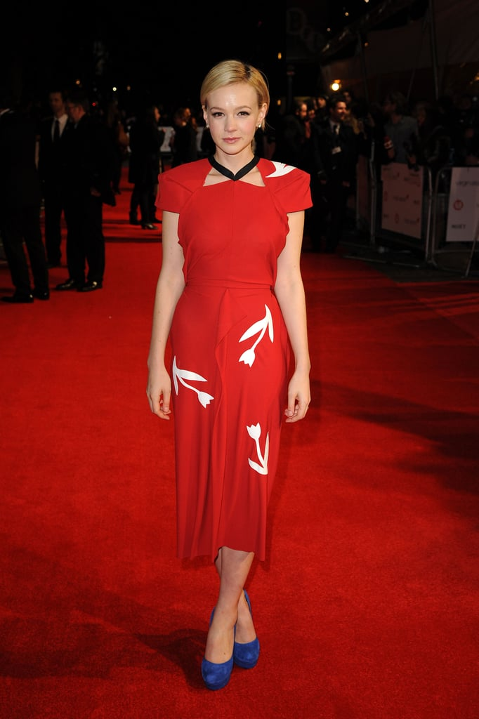 Carey Mulligan in Red Roland Mouret at the 2012 London Film Critics' Circle Awards
