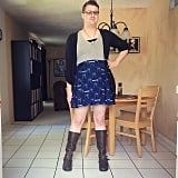 She also posts a ton of fabulous #ootd selfies on her Instagram such as this this one, which shows off a skirt that features a Tardis print from Doctor Who.
