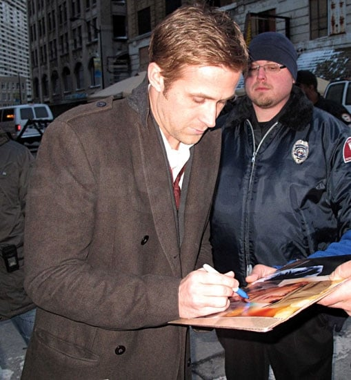 Pictures of Ryan Gosling Signing Autographs For Fans Off Set From the Ides of March