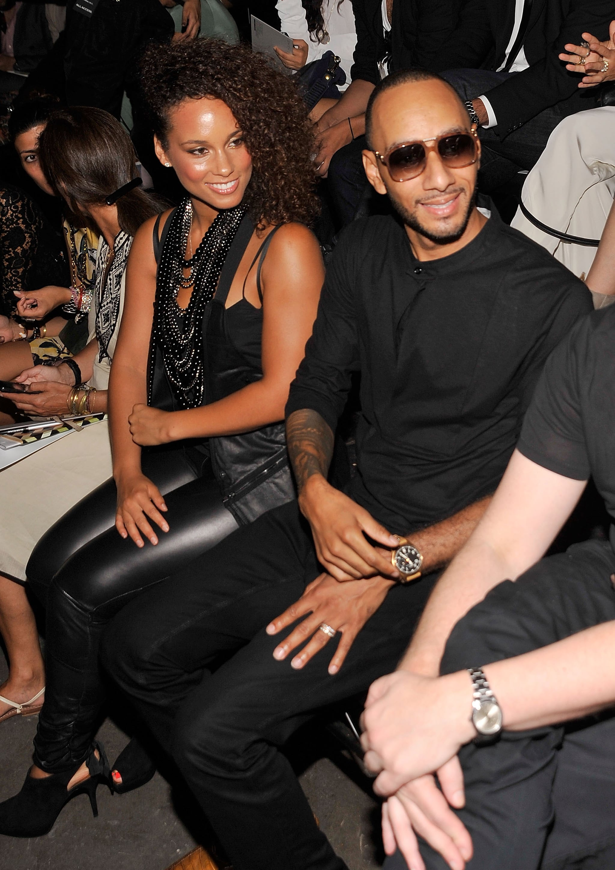 Alicia Keys and Swizz Beatz in the Alexander Wang front row.