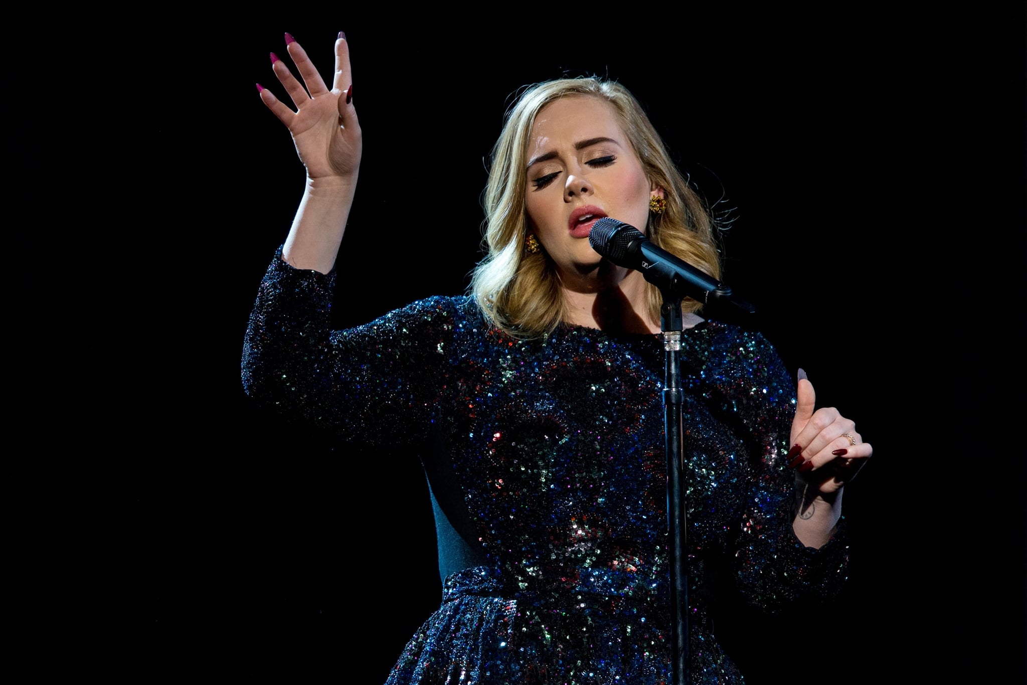 ZURICH, SWITZERLAND - MAY 17: Adele performs on stage at Hallenstadion on May 17, 2016 in Zurich, Switzerland. (Photo by Philipp Schmidli/Getty Images for September Management)