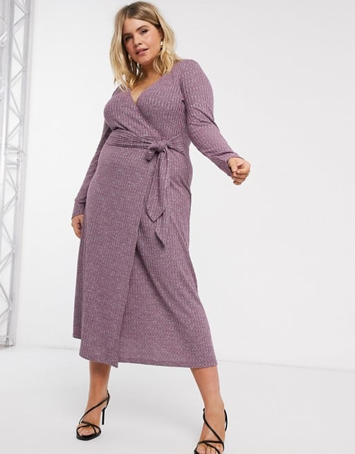 ASOS DESIGN Curve Long Sleeve Marl Belted Midi Dress