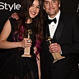 Director Richard Linklater and his daughter, actress Lorelei Linklater, posed with their trophies at the InStyle and Warner Bros. Golden Globes afterparty.