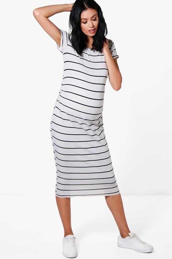 Boohoo Maternity Emma Striped Cap-Sleeve Midi Dress
