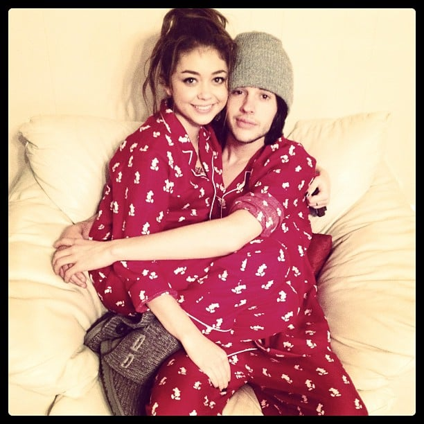 Sarah Hyland and her boyfriend, Matt Prokop, wore matching Christmas pajamas. Source: Instagram user therealsarahhyland