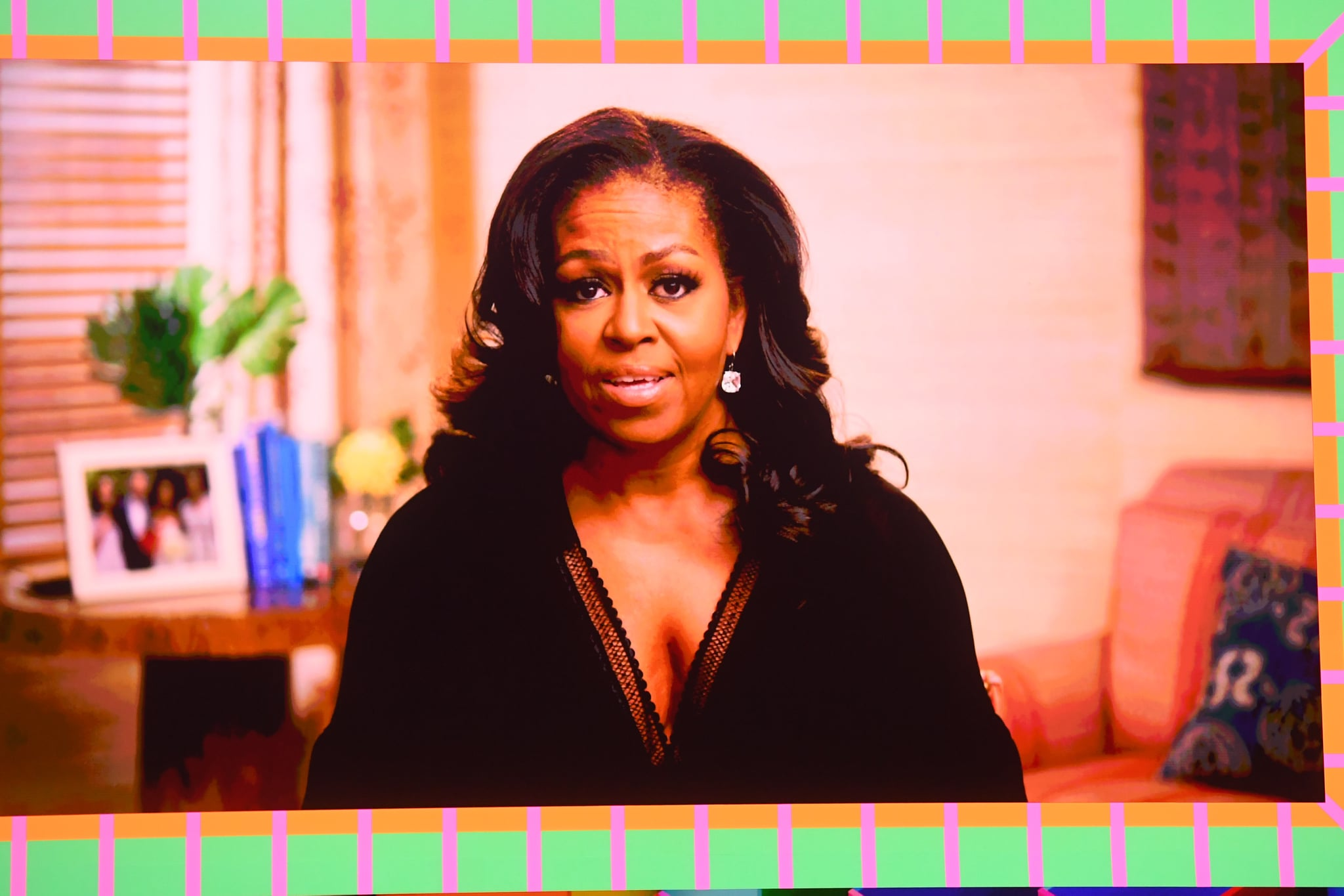 LONDON, ENGLAND - MAY 11: Michelle Obama delivers a video message during The BRIT Awards 2021 at The O2 Arena on May 11, 2021 in London, England. (Photo by Dave J Hogan/Getty Images)