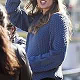 Gisele Bundchen waved at her photo shoot in Brazil.