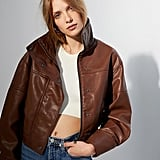 UO Faux Leather Bomber Jacket