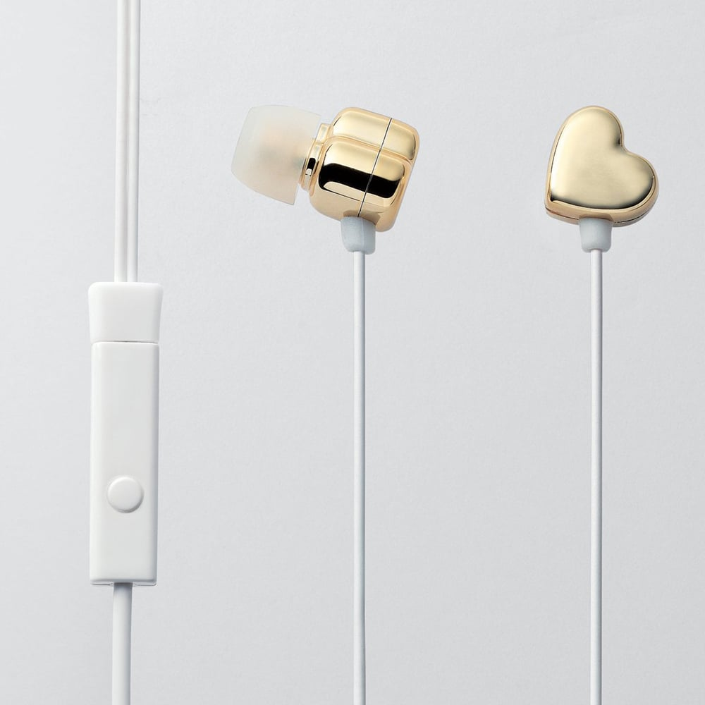 One for her, one for you. How great are these gold heart-shaped earbuds ($50), which are also available in other colors?