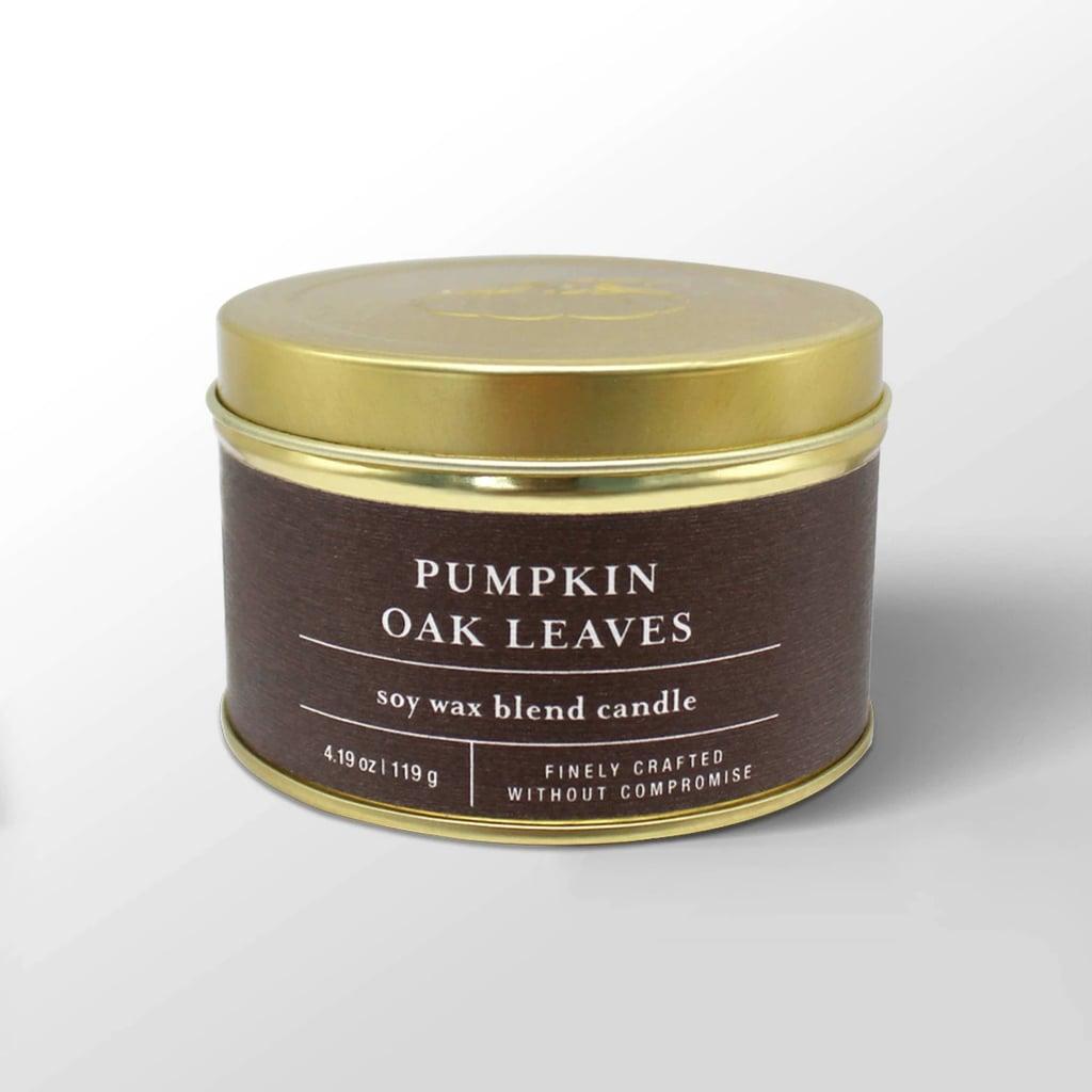 Pumpkin Oak Leaves Tin Jar Candle
