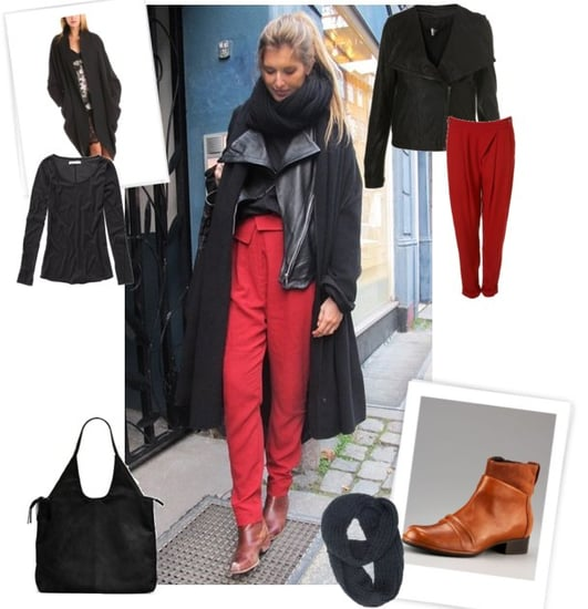 Red and Black Winter Street Style Outfit
