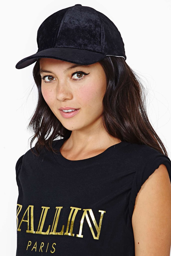 If black is your color but you're looking to stand out from the crowd, consider a velvet Controversy cap ($25).