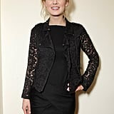 I'd like to call out actress Rosamund Pike for her super chic lace moto-style jacket. What a great mix of tough and pretty.