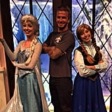 """After visiting Disneyland with the family, David posted this picture with the stars of Frozen, writing, """"I became an even better daddy today after Harper seven asked daddy to have a picture with her favorite girls ....."""""""