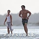 Joe Manganiello and Matt Bomer Playing Football on the Beach