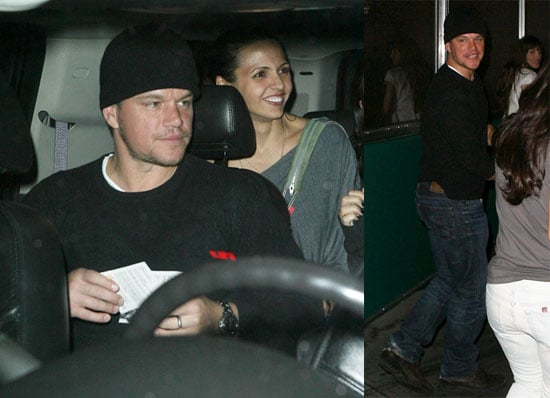 Photos of Matt Damon and Luciana Barroso Leaving the Black Eyed Peas Concert in NYC