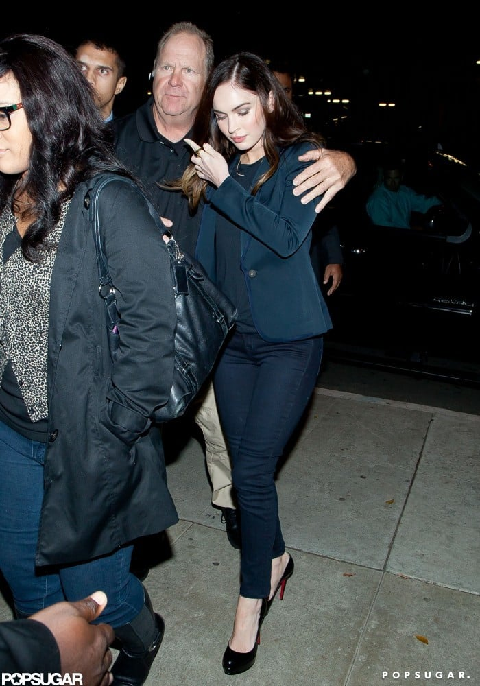 Megan Fox wore a blue blazer for the night out.
