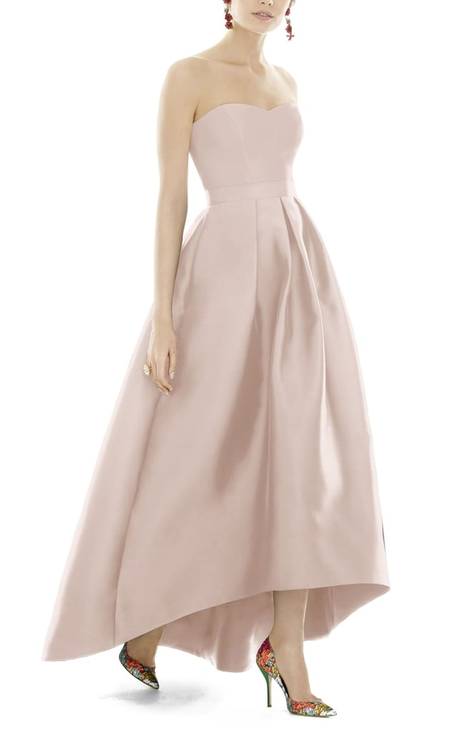 Show off your shoes in this Alfred Sung Strapless High/Low Sateen Twill Gown ($230).