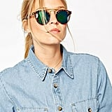 ASOS Round Sunglasses With Metal Bridge High Bar & Flash Lens ($22)
