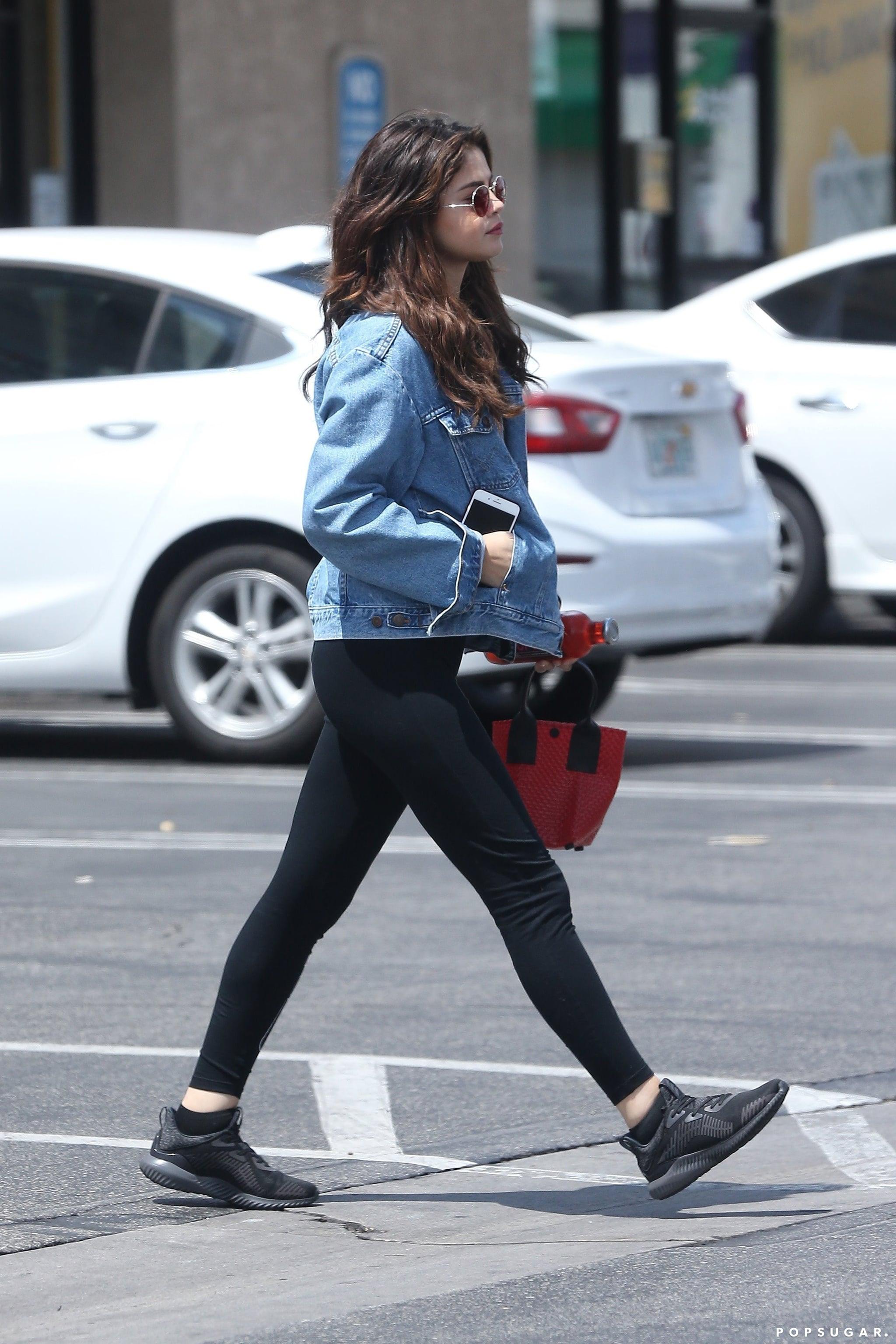 All-Black Running Shoes | Selena Gomez