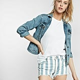 Express Mid-Rise Striped Denim Cutoff Shorts