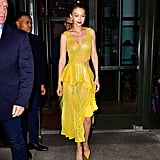 Gigi Hadid Wore a Yellow Prabal Gurung Dress