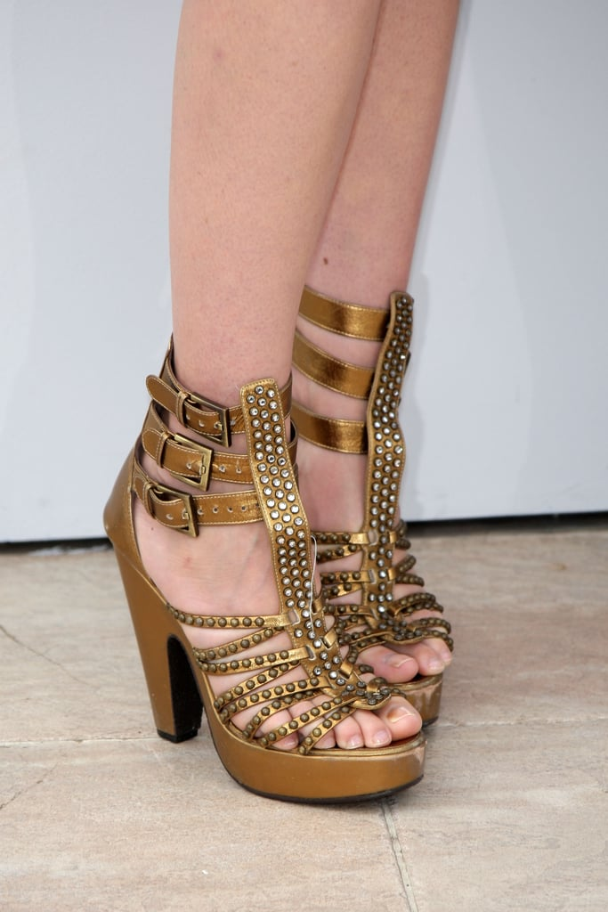 Distinguished detail: the bronzed hue and gladiator style.