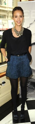 Jessica Alba Wears Blue Tweed Shorts to the Women's Filmmaker Brunch