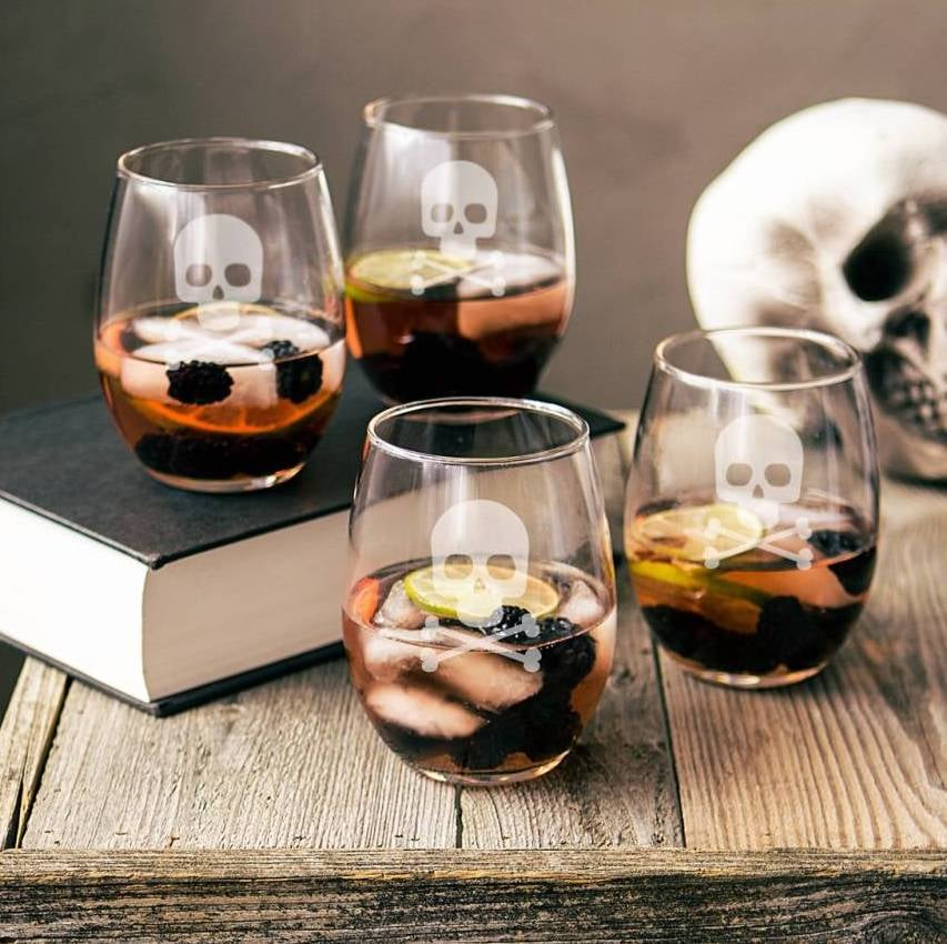 cathys concepts skull crossbones stemless wine glasses
